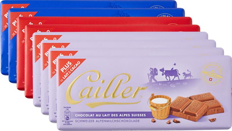 Cailler Tafelschokolade, assortiert: 4 x Milch, 2 x Mandeln, 2 x Chocmel, 8 x 100 g