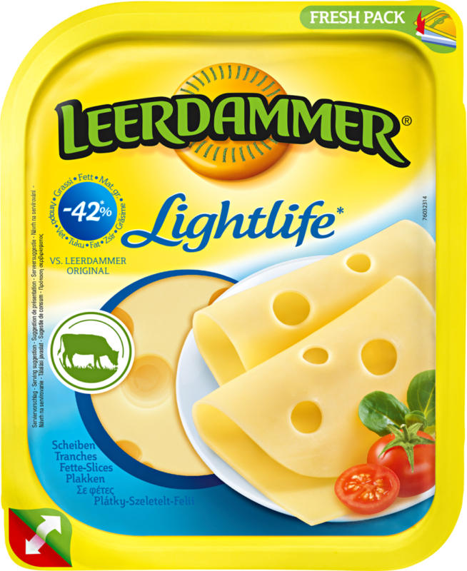 Fromage Leerdammer, Lightlife, 14 tranches, 350 g