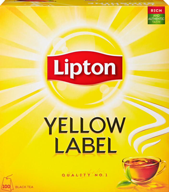 Thé noir Yellow Label Lipton, 100 sachets
