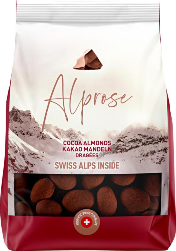 Alprose Dragées Kakao-Mandeln, Überzogen mit Milchschokolade, gepudert mit Kakaopulver, 375 g