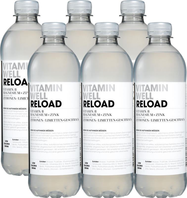 Vitamin Well Reload, Goût Citron/Citron vert, non gazeuse, 6 x 50 cl