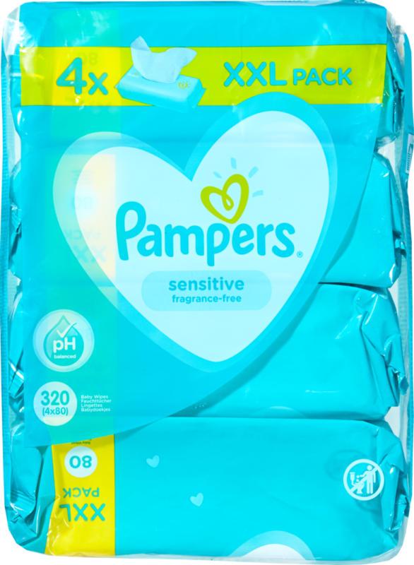 Pampers Feuchttücher Sensitive, 4 x 80 Tücher