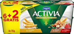 Danone Activia Joghurt, probiotisch, assortiert: Cerealien, Müesli, Erdbeere, 8 x 115 g