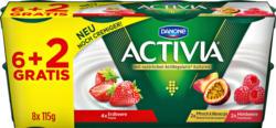 Yogurt Activia Danone, probiotisch, assortiert: Erdbeere, Pfirsich & Maracuja, Himbeere, 8 x 115 g