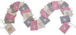 Dekorieren & Einrichten Adventskalender Set mit Cordsäckchen rosa-grau-creme und Holzklammern