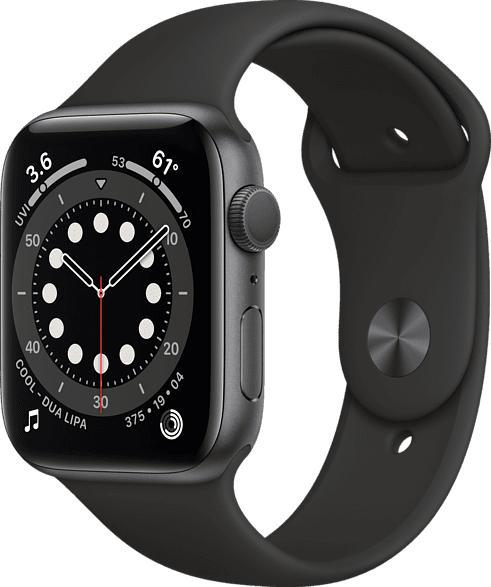 APPLE  Watch Series 6 (GPS), 44 mm Aluminiumgehäuse Space Grau, Sportarmband Schwarz Smartwatch Aluminium, Fluorelastomer, 140 - 220 mm, Schwarz/Space Grau