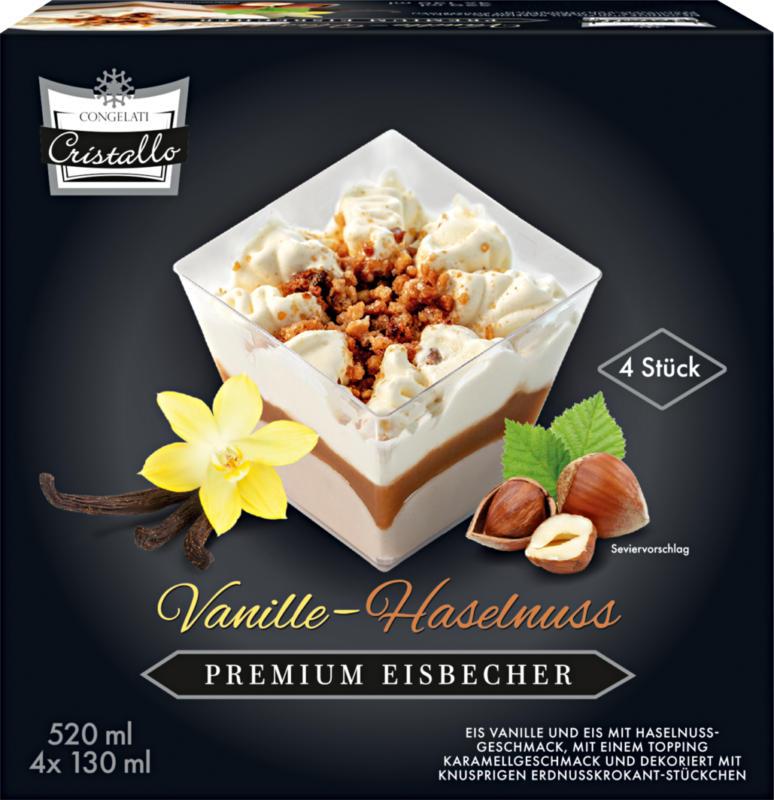 Gelato Premium Nocciole & Vaniglia Cristallo , 4 x 130 ml