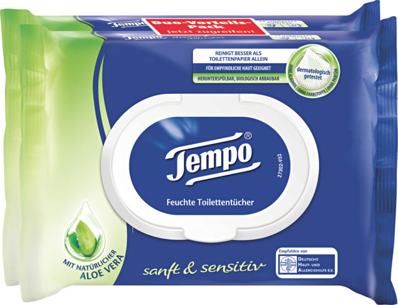 Tempo feuchte Toilettentücher, Sanft & sensitiv, 2 x 42 Tücher