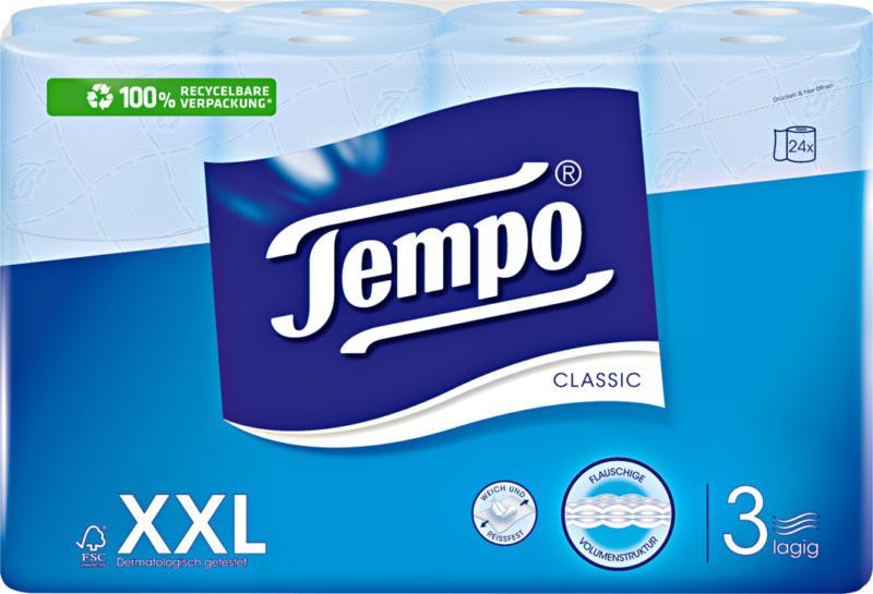 Tempo Toilettenpapier Classic blau, 3-lagig, 24 x 150 Blatt