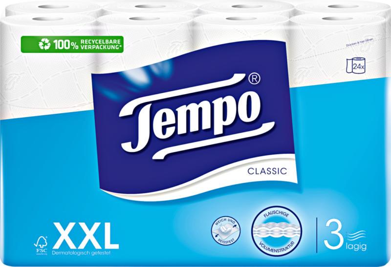 Papier hygiénique Classic blanc Tempo, 3 couches, 24 x 150 feuilles