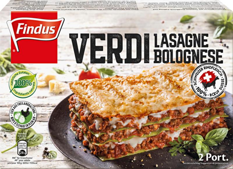 Findus Lasagne verdi bolognese, mit 100% Schweizer Rindshackfleisch, 600 g
