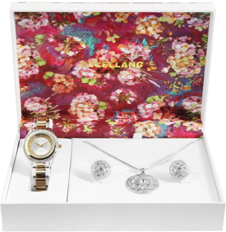 Excellanc Schmuckset mit Uhr, Halskette und Ohrringe silber- und goldfarben -