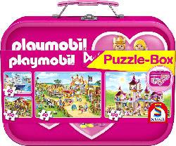 SCHMIDT SPIELE (UE) Puzzle-Box Playmobil im Metallkoffer Puzzle, Mehrfarbig
