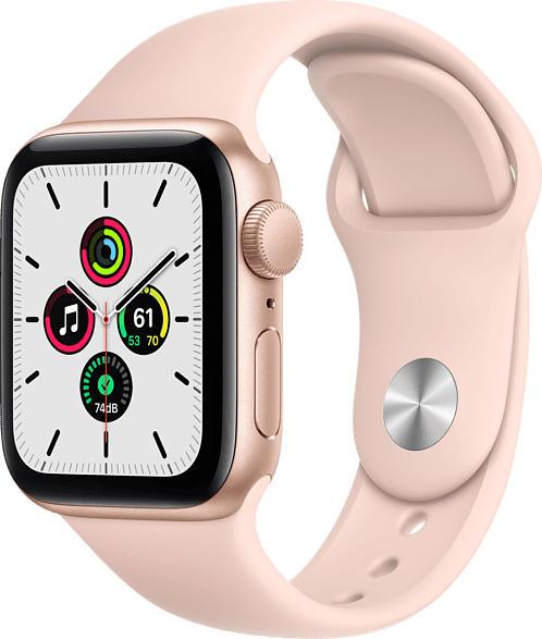APPLE  Watch SE (GPS), 40 mm Aluminiumgehäuse Gold, Sportarmband Sandrosa Smartwatch, Fluorelastomer , 130 - 200 mm, Gold/Sandrosa
