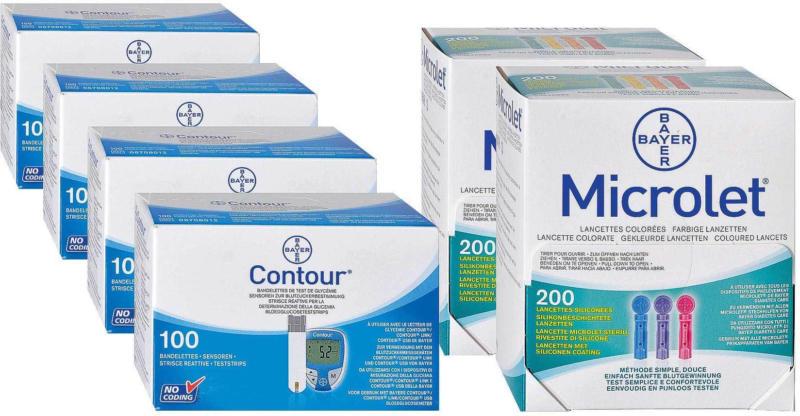 Bayer Contour, 4x100 Sensoren + 2x200 Microlet Lanzetten -
