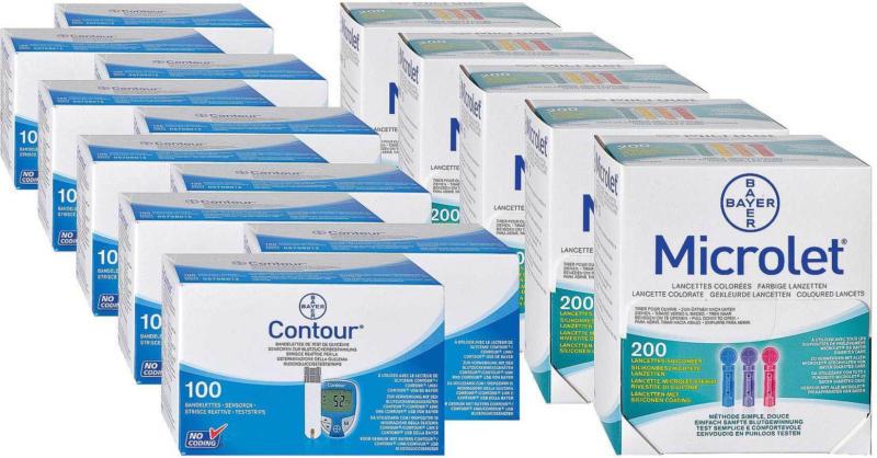 Bayer Contour, 10x100 bandelettes + 5x200 microlet lancettes -