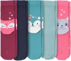 5 Paar Mädchen Socken mit Tier-Motiven