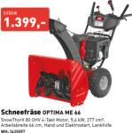 Würth-Hochenburger - Baustoffniederlassung Schneefräse OPTIMA ME 66 - bis 28.11.2020