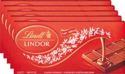 Lindt Lindor Tafelschokolade Milch, 5 x 100 g