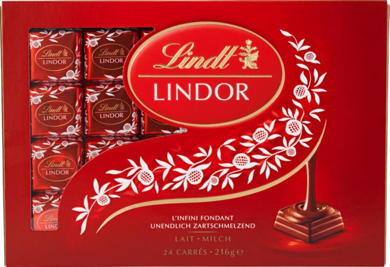Lindt Lindor Les Carrés Milch, 216 g