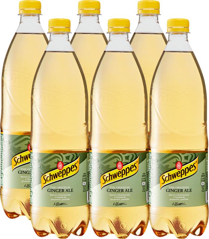 Schweppes Ginger Ale, 6 x 1 litro