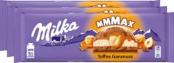 Tablette de chocolat Milka, Toffee, noisettes entières, 3 x 300 g