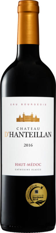 Château d'Hanteillan Haut-Médoc AOC Cru Bourgeois, 2016, Bordeaux, Frankreich, 75 cl