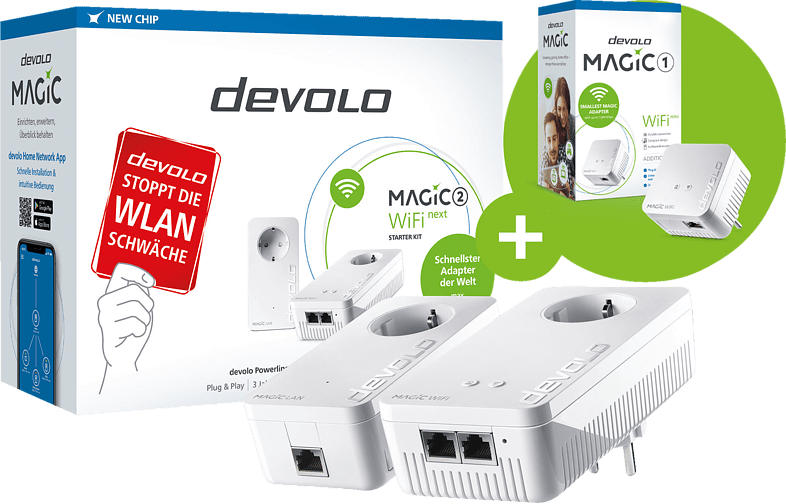 Powerline-Adapter DEVOLO 8614-8559 Magic 2 WiFi Next SK + Magic 1 WiFi Mini SGL 2400 Gbit/s Kabellos und Kabelgebunden
