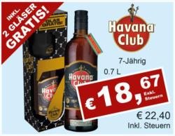 Havana Club Anejo 7 Anos inkl. 2 Gläser Gratis