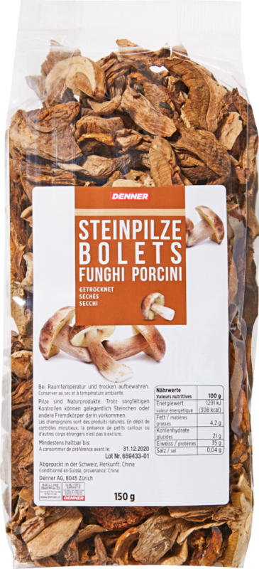Funghi porcini Denner, secchi, 150 g