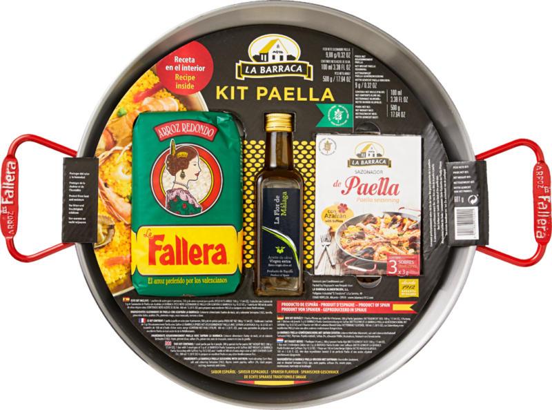Kit paella La Barraca, contiene una padella in acciaio, 500 g di riso per paella, 1 confezione di spezie, 100 ml di olio d'oliva Extra Vergine