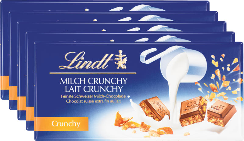 Tavoletta di cioccolata Latte Crunchy Lindt, 5 x 100 g