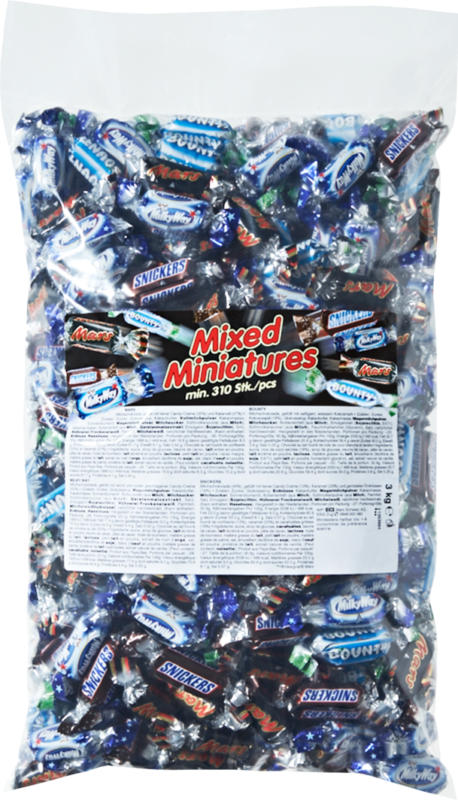 Mixed Miniatures, assortis: Mars, Bounty, Snickers, Milky Way, min. 310 pièces, 3 kg