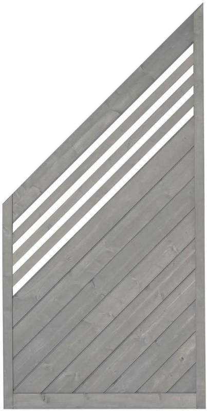 """Zaunserie """"Malmö"""", Abschluss links, 90x180/90 cm, Fichte, basaltgrau lasiert"""