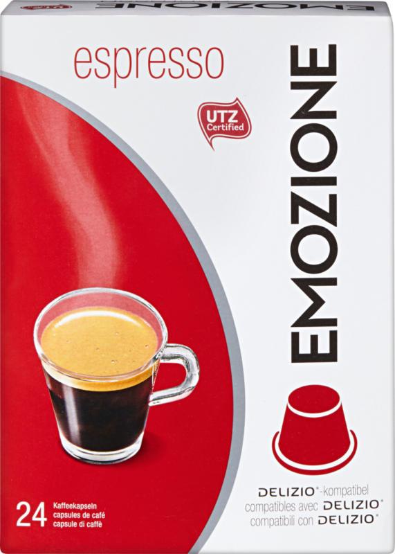 Capsule di caffè Espresso Emozione, compatibili con le macchine Delizio