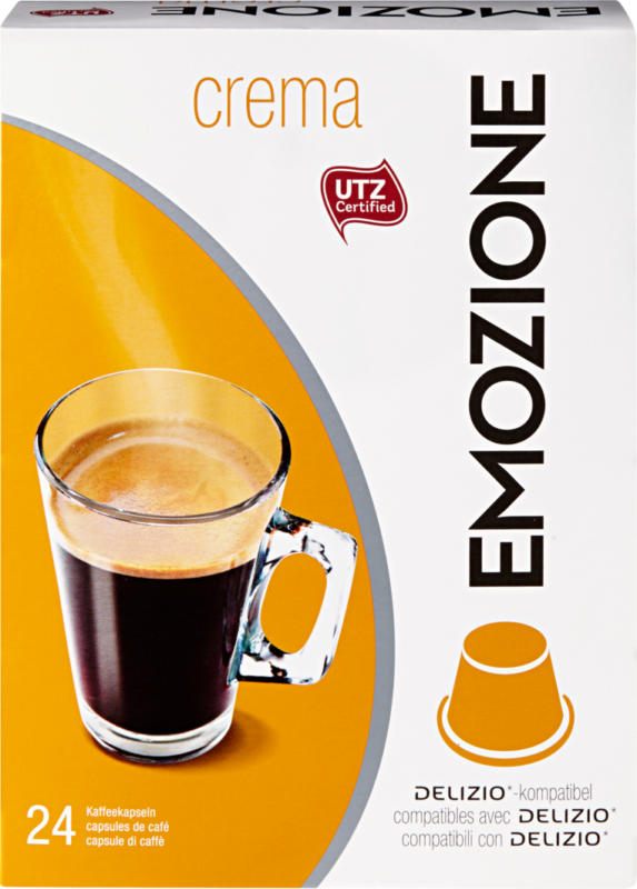 Capsules de café Crema Emozione, compatibles avec les machines Delizio