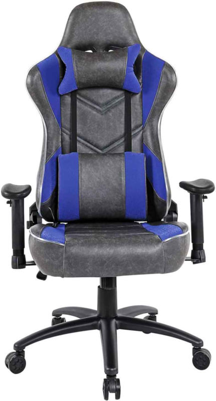Chaise de jeu Nitro PU anthracite/bleu -