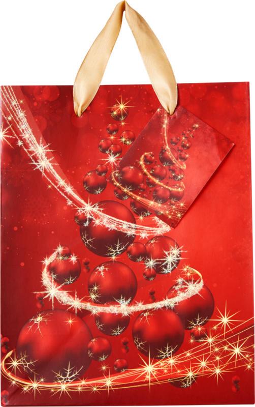 Sac cadeau de Noël midi, différents motifs, 18 x 23 x 10 cm, 1 pièce