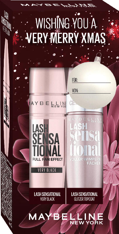 Maybelline New York Geschenkset Mascara Lash Sensational Very Black + Gratis Glitter Top Coat