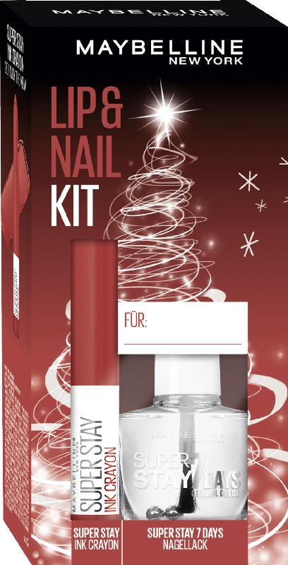 Maybelline New York Geschenkset Lippenstift Super Stay Ink Crayon 20 + Nagellack Superstay 7 Days 25 - mit Preisvorteil