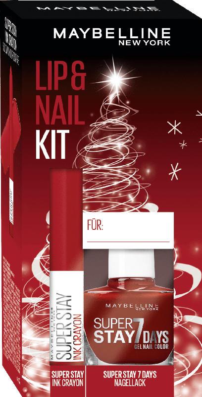Maybelline New York Geschenkset Lippenstift Super Stay Ink Crayon 50 + Nagellack Superstay 7 Days 501 - mit Preisvorteil