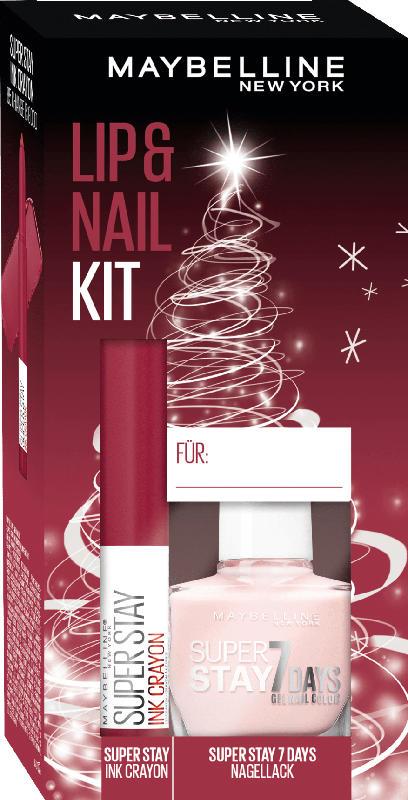 Maybelline New York Geschenkset Lippenstift Super Stay Ink Crayon 85 + Nagellack Superstay 7 Days 286 - mit Preisvorteil
