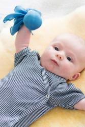 ALANA Baby-Seidenpüppchen, in Seide und Baumwolle, blau, für Mädchen und Jungen; ca. 28 x 28cm