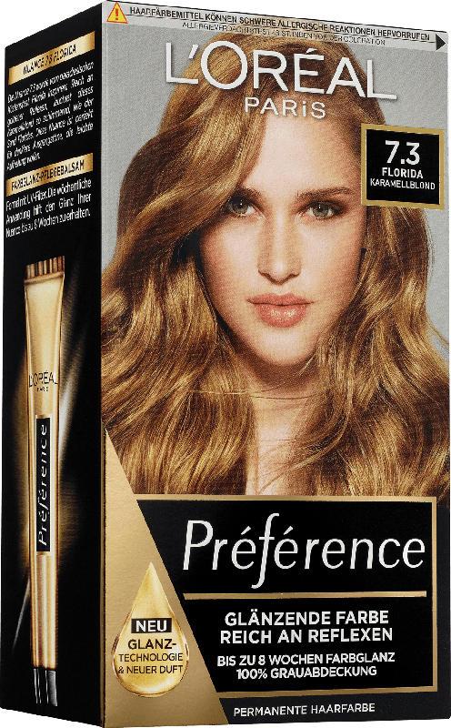 L'Oréal Paris Préférence Haarfarbe Karamellblond, 7.3 Florida