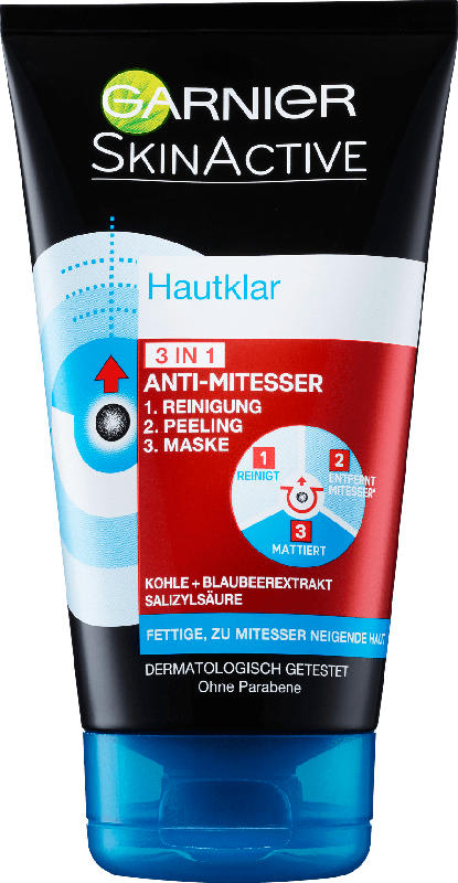 Garnier Skin Active Reinigung + Peeling + Maske Hautklar 3in1 Anti-Mitesser