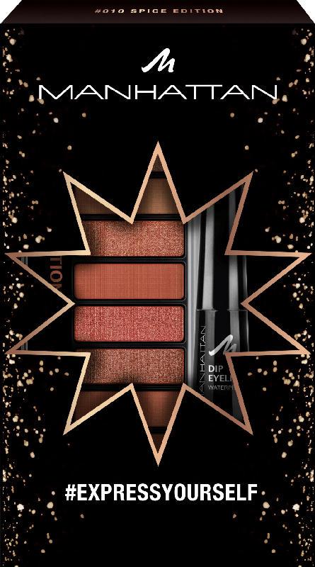 MANHATTAN Cosmetics Geschenkset Lidschattenpalette Eyemazing Palette Spice Edition 010 + gratis MH Dip Eyeliner Waterproof black 1010N