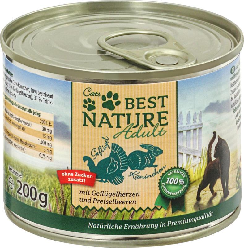 Cats Best Nature Nassfutter für Katzen, Adult, Geflügelherzen und Kaninchen