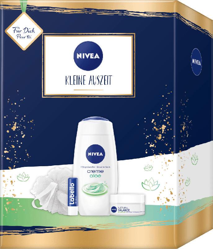 NIVEA Geschenkset Kleine Auszeit Labello 5,5g + Duschgel 250ml + Tagespflege 50ml + Duschschwamm
