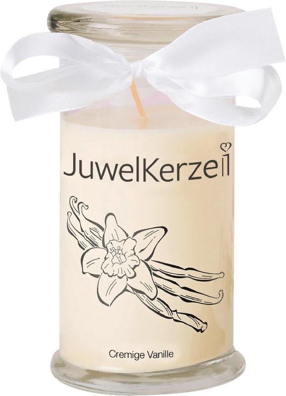 Juwelkerzen Duftkerze mit Glas Cremige Vanille