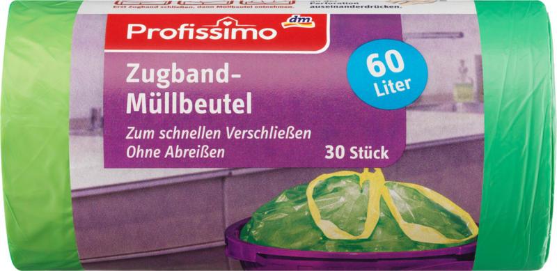 Profissimo Müllbeutel mit Zugband 60 l